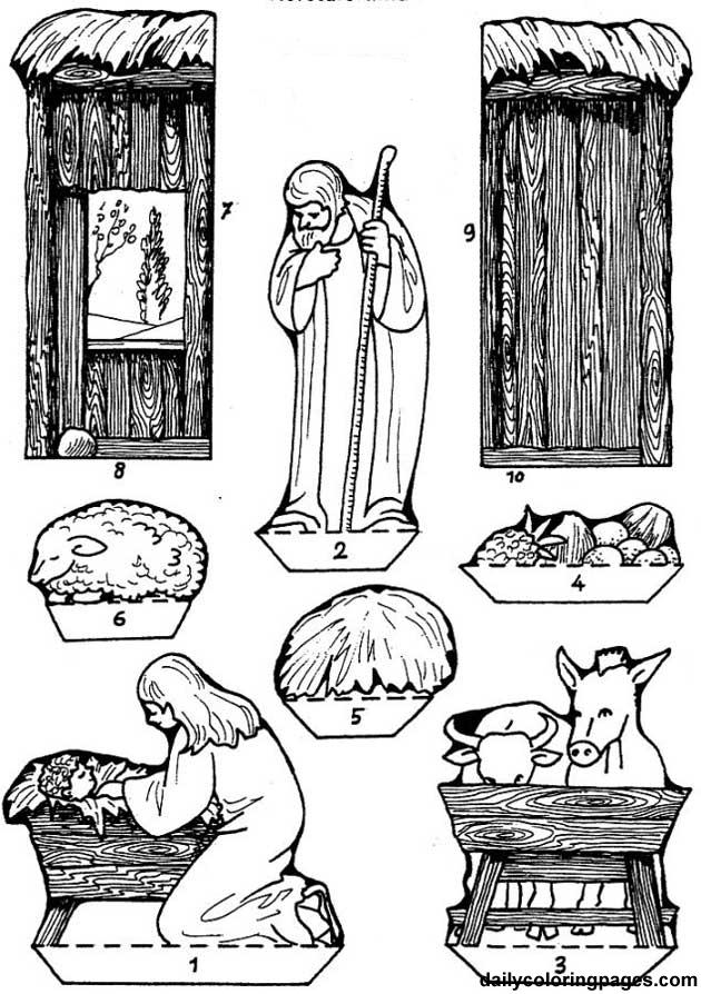 Kleurplaat Figuren Kerststal Рождественская поделка для детей Вертеп Рождественская
